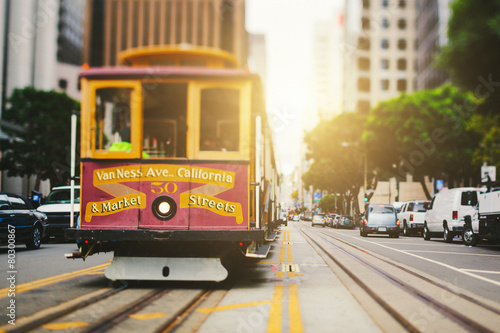 San Francisco Cable Car in California Street Obraz na płótnie