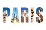 Paris letters with monuments isolated on white background - 80301841
