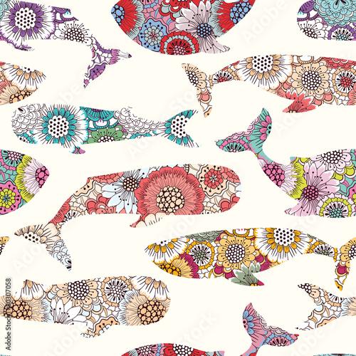 Wzór kwiatowy wieloryby