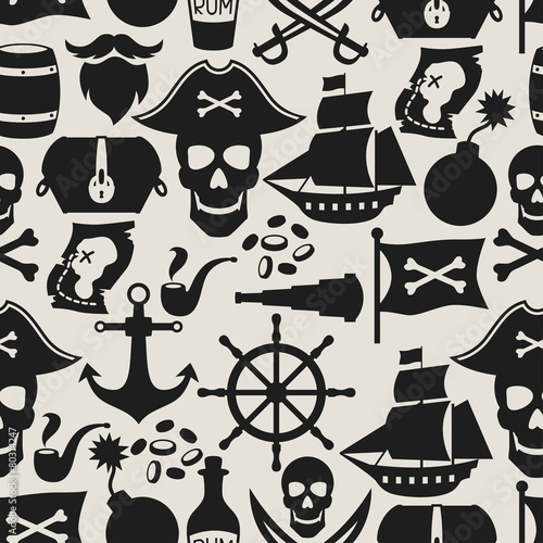 Photo  Seamless pattern on pirate theme with objects and elements