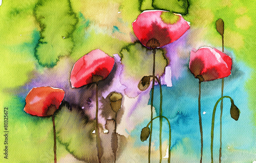 Photo Stands Painterly Inspiration watercolor illustration depicting spring flowers in the meadow