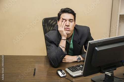 Fotografie, Obraz  Tired bored young businessman