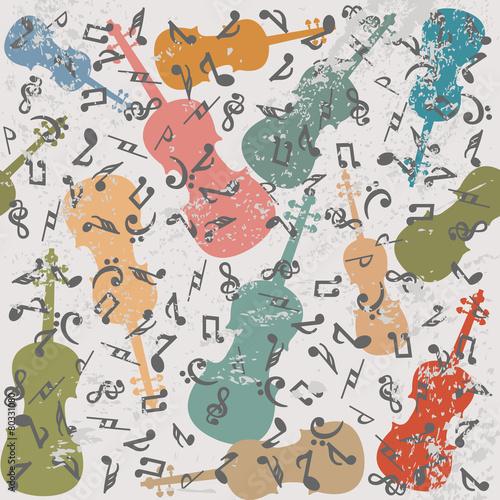 grunge-rocznika-tlo-ze-skrzypcami-i-nutami