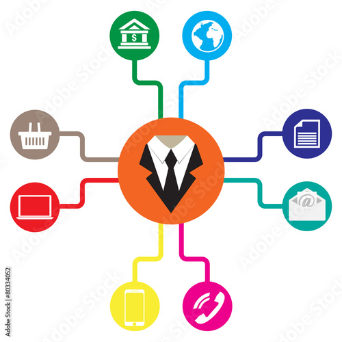 Fotografía  Business icons flat vector illustration Communication