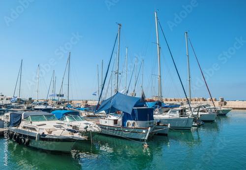 Yacht in the port of Old Jaffa in Tel Aviv Fototapeta