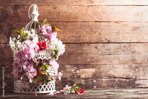Photo  Bird cage with wooden heart