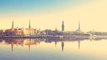 Riga Center With Reflection In Daugava, With Retro Filter Effect
