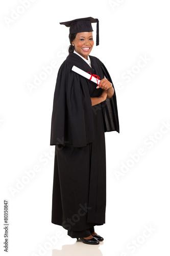 african american female graduate full length