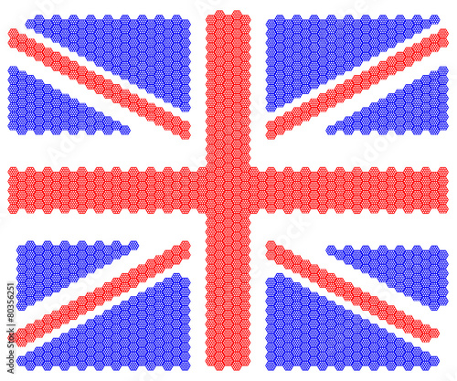 Illustration United Kingdom national flag nation people octagon Canvas Print