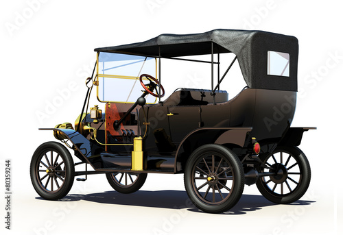 Photo  Retro Car. Backside View. Clipping Path Included.