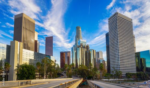 Stickers pour portes Los Angeles Los Angeles city skyline