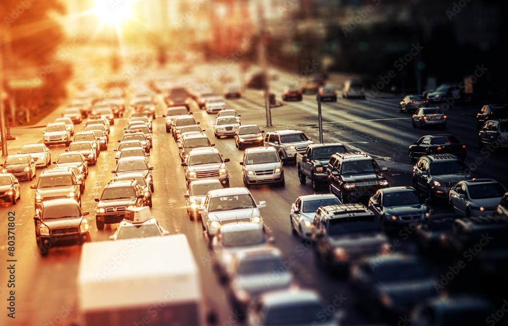 Fototapeta Highway Traffic at Sunset