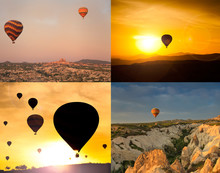 Collage Of Four Images Of Flying Balloons.
