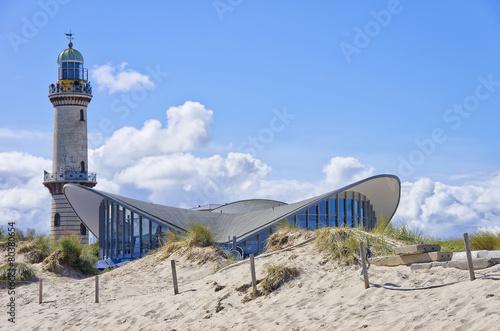 Fotomural Teepott und Alter Leuchtturm Rostock-Warnemünde, Mecklenburg-Vorpommern, Ostee,