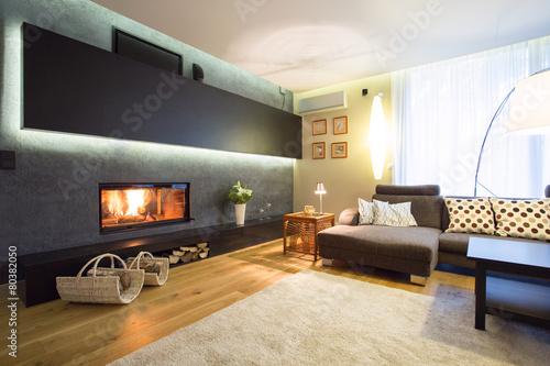 Slika na platnu Fireplace in cozy drawing room