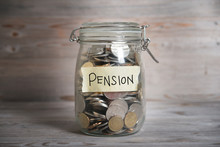 Money Jar With Pension Label.