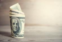 Hundred Dollar Bills Rolled