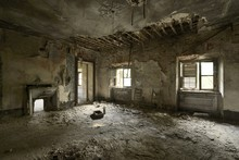 Old Abandoned Room With Collapsed Ceiling