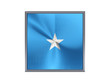 Square metal button with flag of somalia