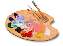 Artist. Pallette With Brushes On A White Background