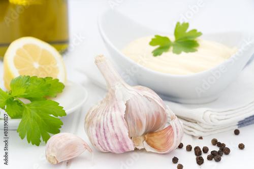 Aromatic garlic still life, ingredients for aioli sauce Canvas Print