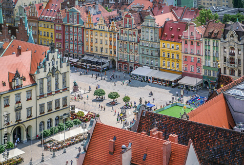 People walking on the market square in Wroclaw, Poland.