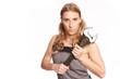 Leinwanddruck Bild - Junge Frau mit grossen Schraubenschluessel