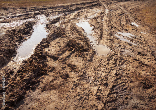 Background tracks from tires on clay off-road - Buy this stock photo