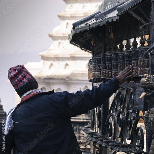 Fotografie, Obraz  Prayer Wheels at Swayambhu, Kathmandu, Nepal