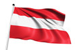 Austria flag with fabric structure on white background