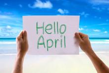Hello April Card With Beach Ba...