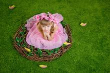 Cute Little Girl Is  In A Bird's Nest