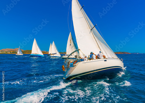 sailing boats during a regatta in Saronikos gulf in Greece