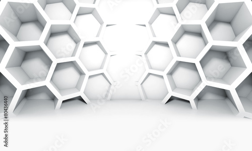Abstract white symmetric interior with honeycomb #80436440