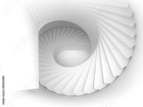 Abstract 3d white spiral interior perspective with stairs Canvas-taulu