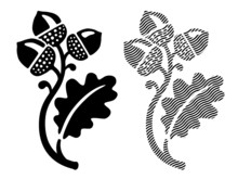 Oak Leaf With Acorns