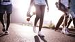 Teen longboarders looking cool walking together