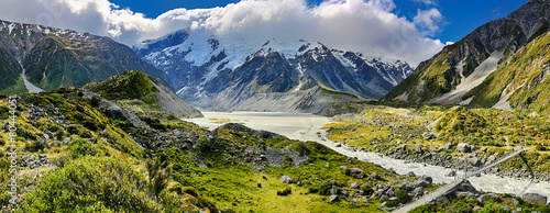 Fotobehang Nieuw Zeeland View over Hooker Valley, Mount Cook National Park - New Zealand