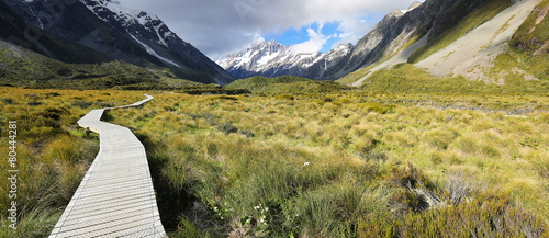 Montage in der Fensternische Neuseeland Hooker Valley Track at Mount Cook National Park - New Zealand