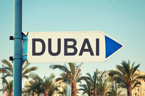Photo  Dubai Road Sign. United Arab Emirates