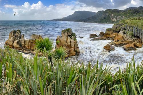 Fotografie, Obraz  Coastline near Pancake Rocks, New Zealand - HDR panorama