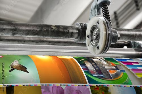 Fotografie, Obraz Magazine offset printing machine close up