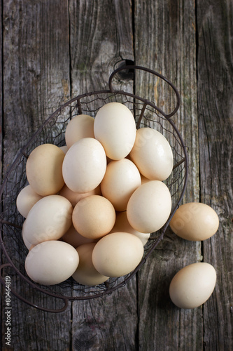 Fototapeta  eggs in a metal basket