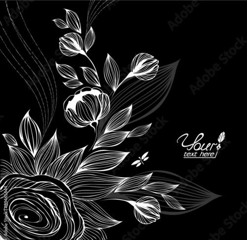 Foto op Canvas Bloemen zwart wit Floral background in the style of zentangle