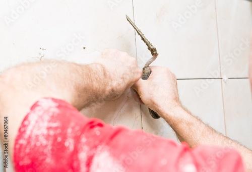 Photo  construction mason man hands