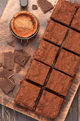 fototapeta na drzwi i meble czekoladowe ciasteczka. widok z góry.