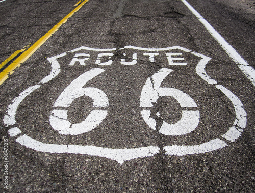 Foto op Canvas Route 66 Route 66 sign on the road
