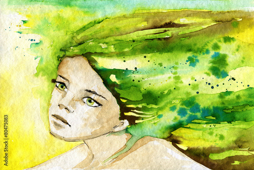 Fototapety, obrazy: abstract watercolor illustration depicting a portrait of a woman