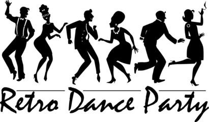 Fototapeta Retro dance party silhouette