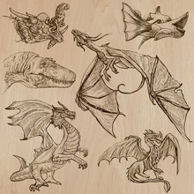 Dragons. An Hand Drawn Vectors...